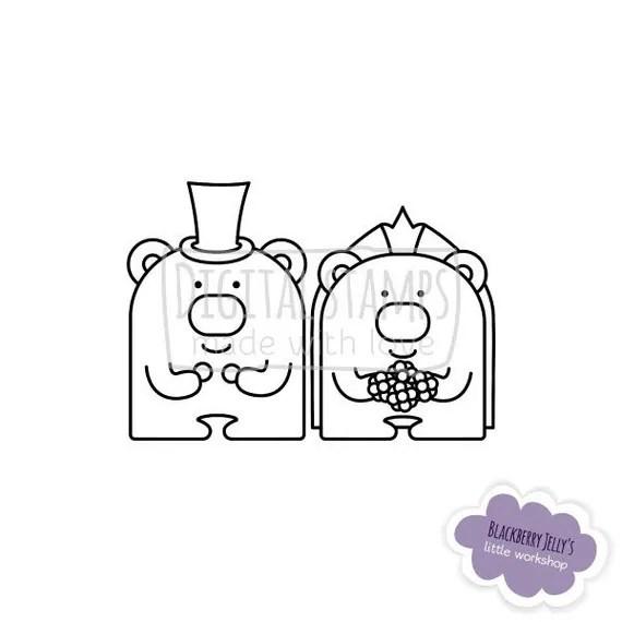Digital Stamp Bears Wedding Just Married