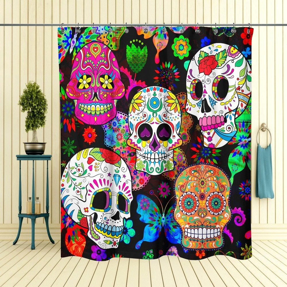 Sugar Skull Shower Curtain Day Of The Dead by FolkandFunky