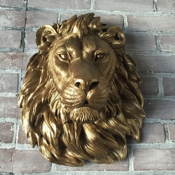 Color Bronze Large African Lion Head Wall Mount