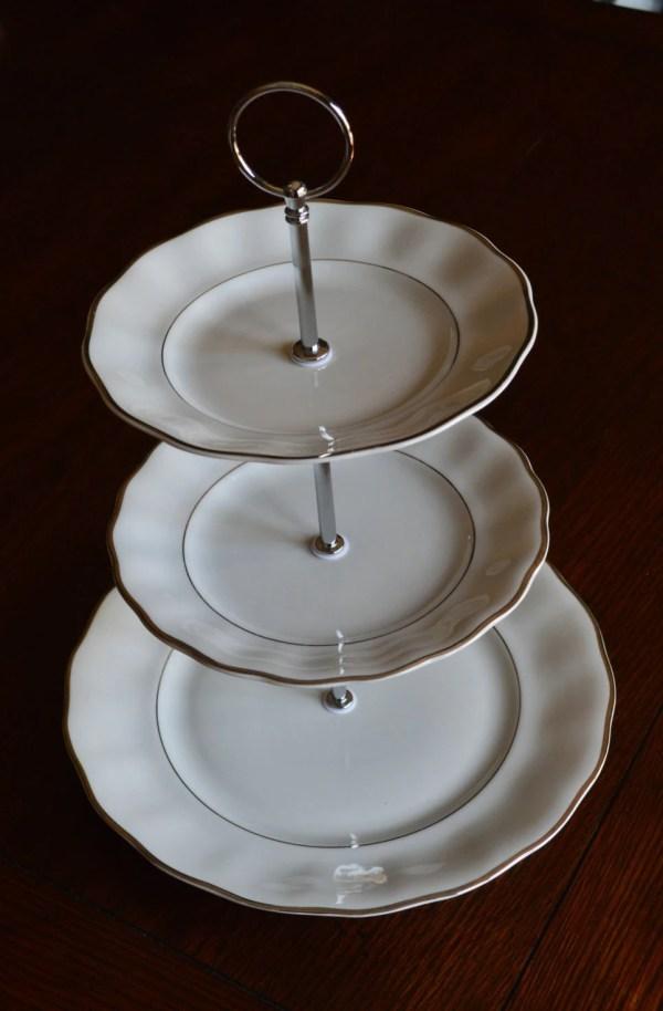 Three Tiered Dessert Stand White Wavy Silver 3 Tier Cupcake