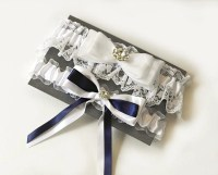 Wedding Plus Size Garter Sets Bridal Garter Navy and White