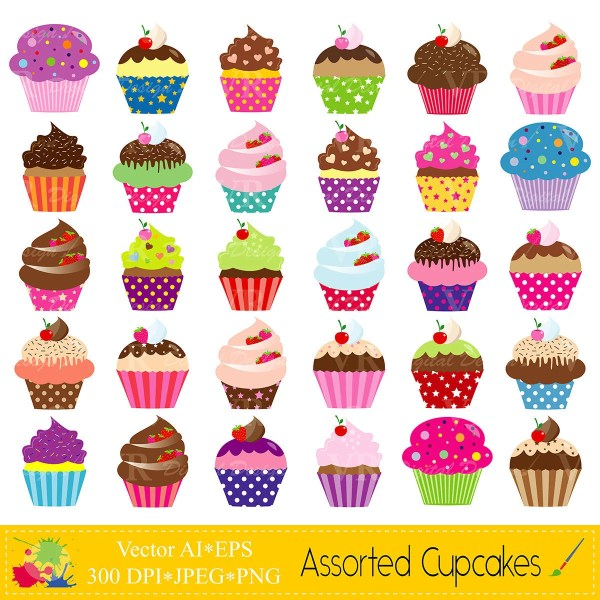 assorted cupcakes clip art set