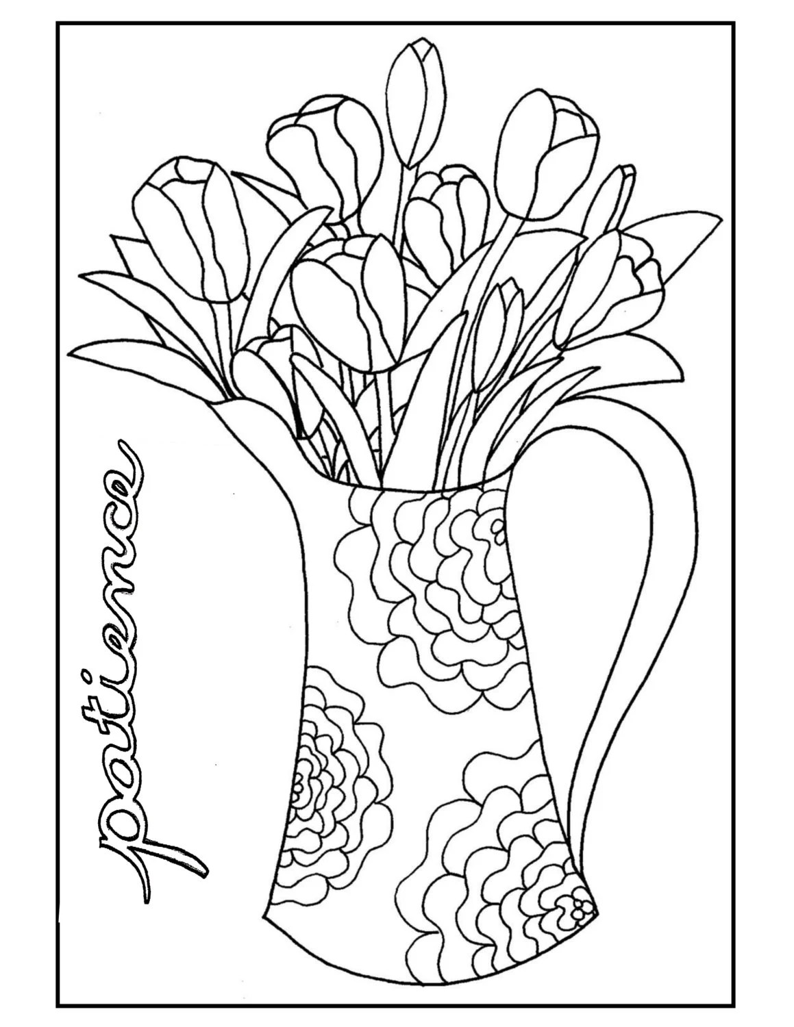 Coloring Page Color4aCause: Autism Patience/Tulips by