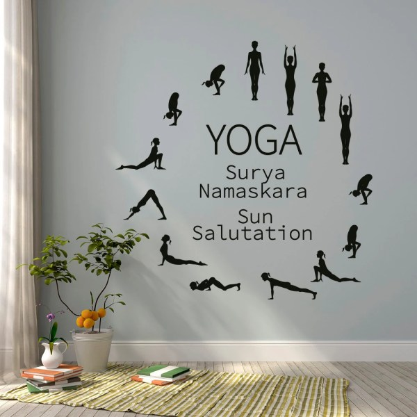 Sun Salutation Yoga Wall Decal Studio Vinyl