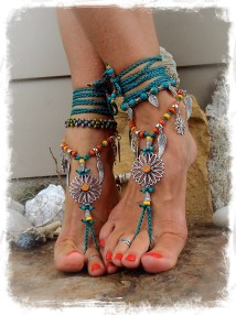 Teal Sunflower Barefoot Sandals Hippie Festival Sandal Flower