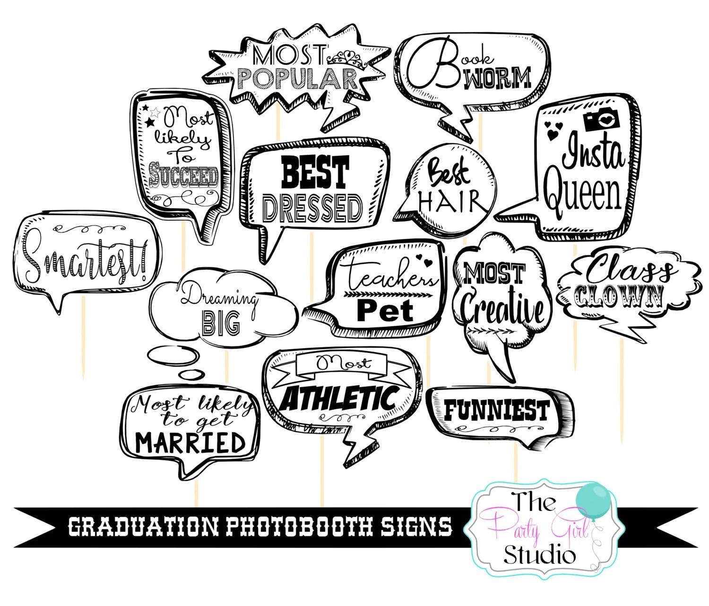 14pc * Graduation Photo Booth Speech Bubbles /Graduation