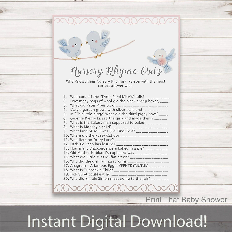 Baby Shower Games Nursery Rhyme Quiz Game Baby Bird Baby