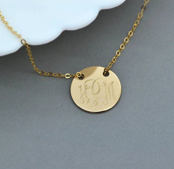 Gold Monogram Necklace Engraved Disc Personalized