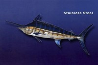 Blue Marlin Metal Art Wall Sculpture in Stainless or Carbon