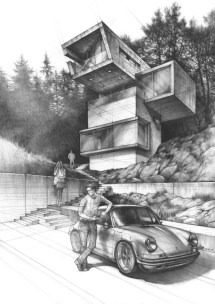 Pencil Drawings of Futuristic Houses