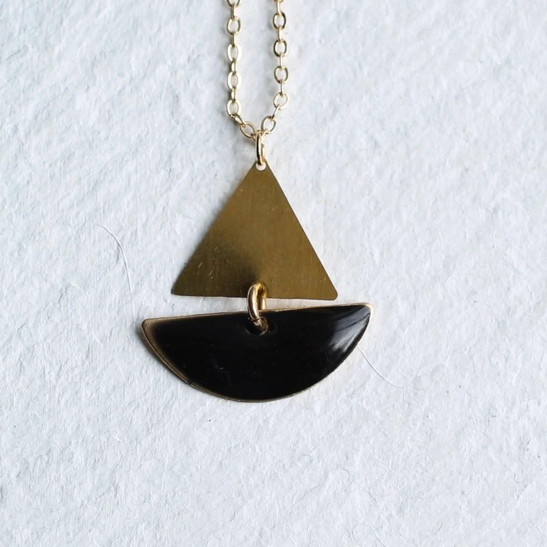 Sailing Boat Necklace  Black Geometric Enamel Nautical