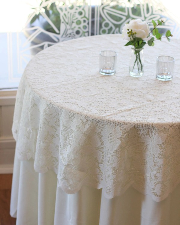 Ivory Lace Tablecloth 60 Inches Table Overlays