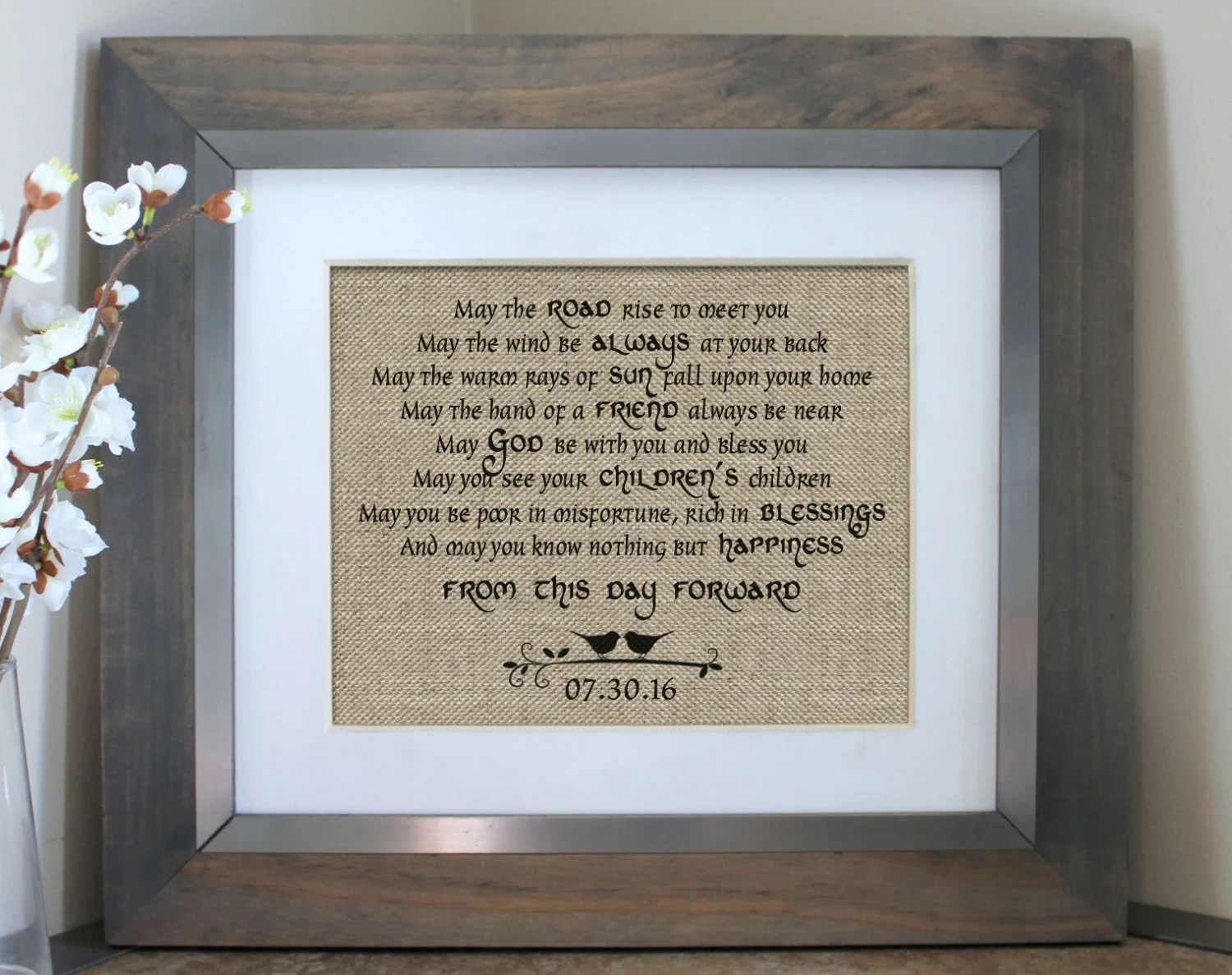 Irish Blessing On Burlap Irish Wedding Gift By EmmaAndTheBean