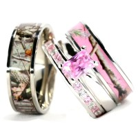 Camo Wedding Ring Set for Him and Her Titanium Stainless