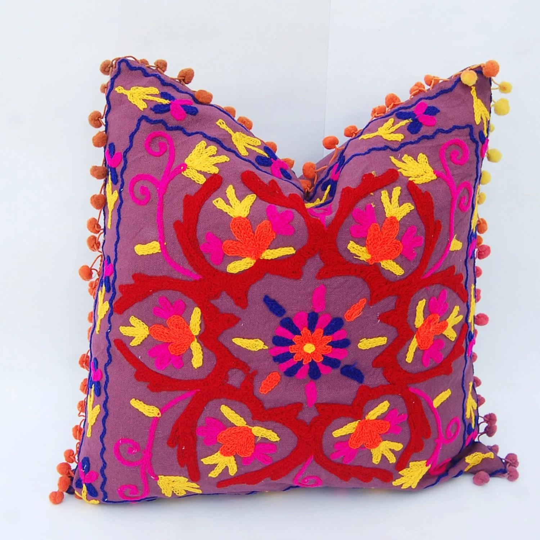 Fodere per cuscini suzani turca disegni colori vivaci a mano