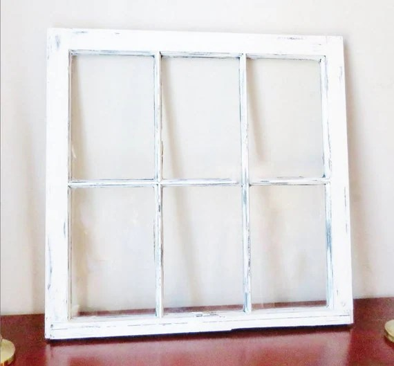 antique white frame Wood window picture frame 6 pane vintage