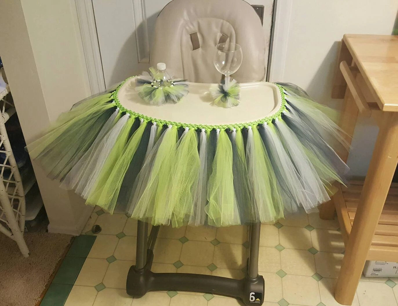 high chair tutu leather swivel recliner and ottoman tulle table skirt banner highchair decoration