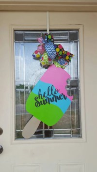 Wooden Door Hanger Popsicle Ice Cream Summer Door Decor