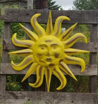 Large Metal Sun Wall Art Yellow and Antique by ...