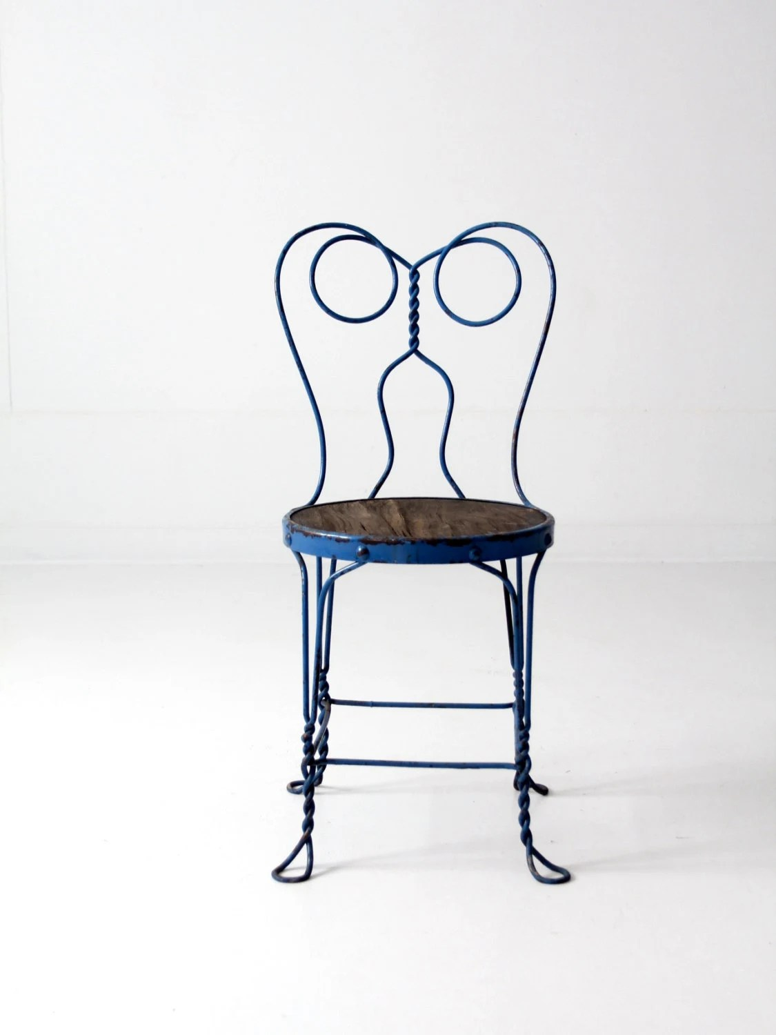 ice cream parlor table and chairs wheelchair racing vintage chair blue iron cafe metal