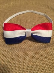 red white and blue hair bow headband