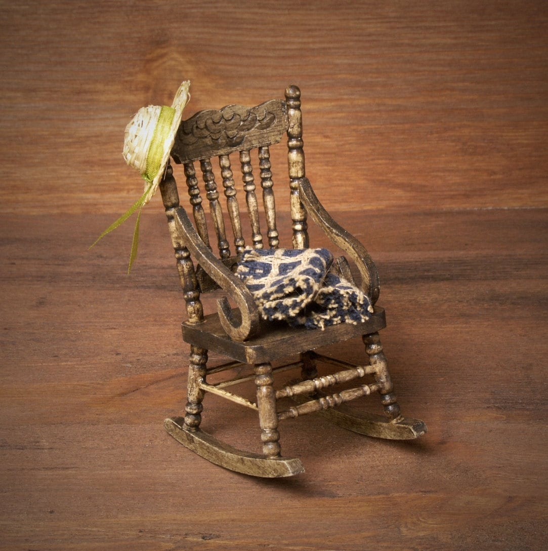 mini rocking chair ergonomic osha miniature wooden for your dollhouse