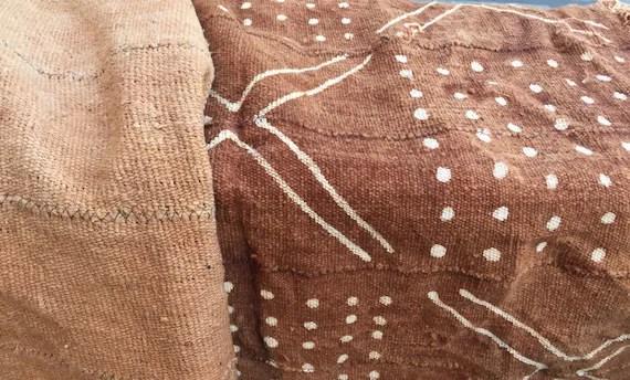Rust Mudcloth Fabric Throw Blanket 3x5 Mud Cloth