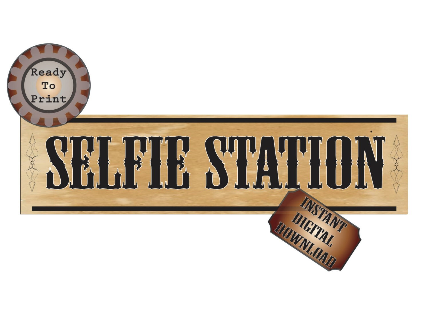 Wild West Selfie Station Banner Printable Country Style