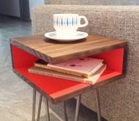 Mid Century Modern Side Table Hairpin Legs Wood Nightstand