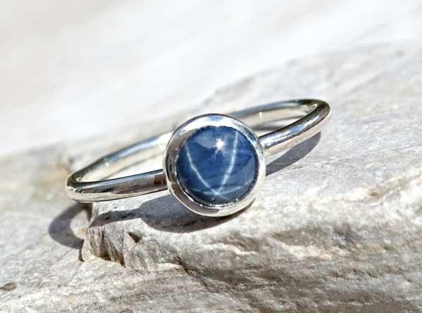star sapphire ring blue star sapphire ring womens promise