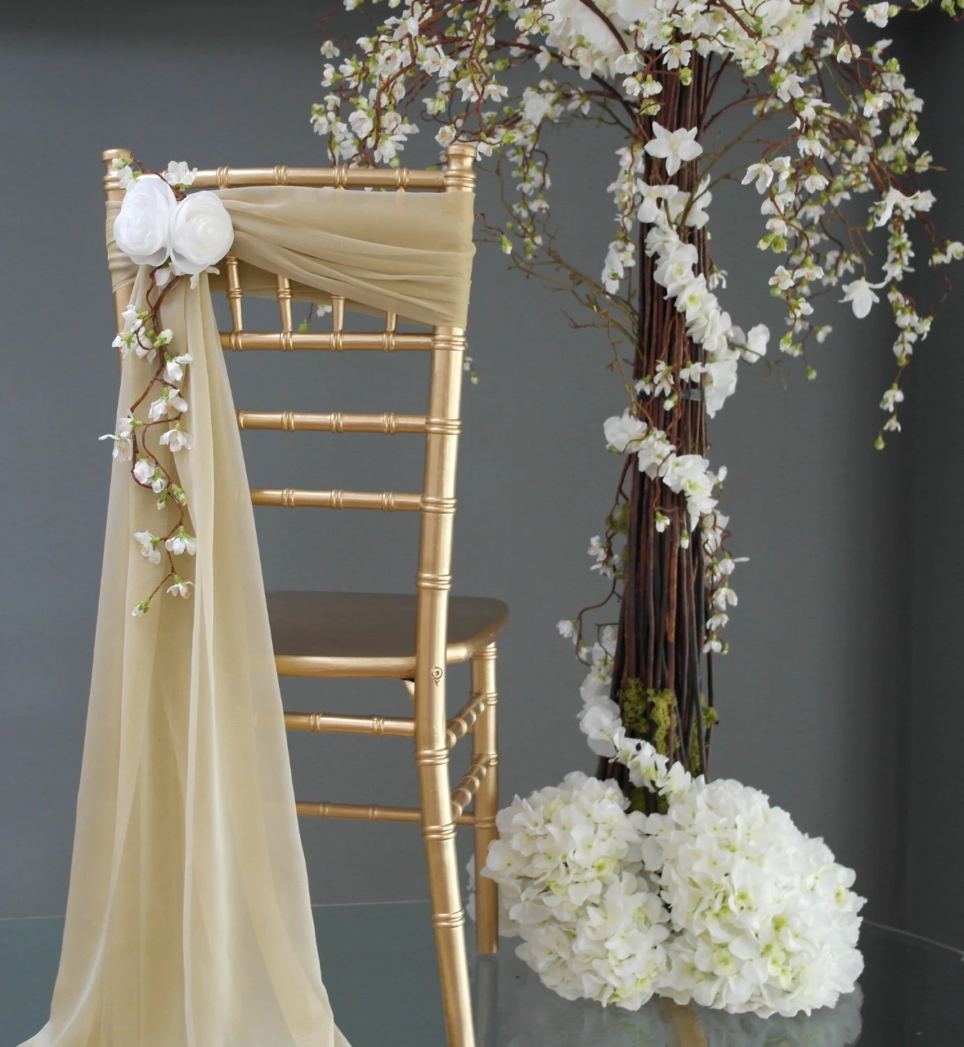 sash for chairs west elm uk new wedding chair back and white flower accent handmade