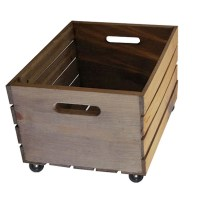 Rustic Wooden Crate on Wheels Storage Crate Home Decor