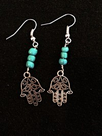 Hamsa Pendant Earrings/Silver Hamsa Earrings/Turquoise