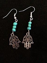 Hamsa Pendant Earrings/Silver Hamsa Earrings/Turquoise