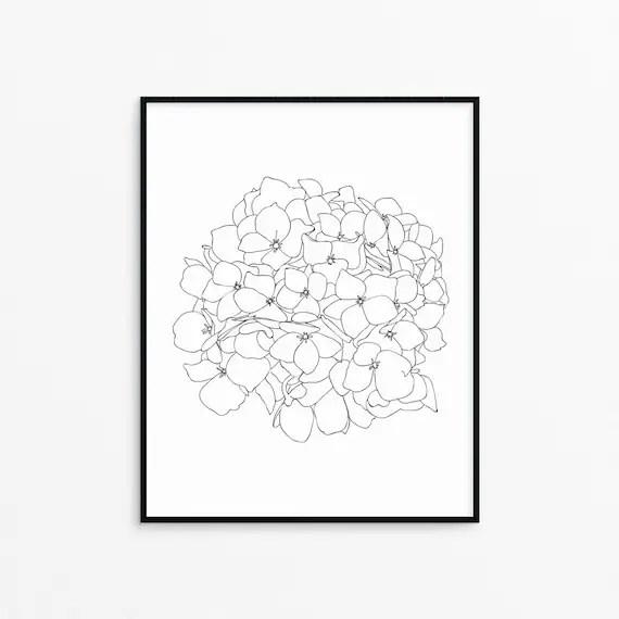 Hydrangea Flower Line Art Print/Printable/Wall Decor/Black and