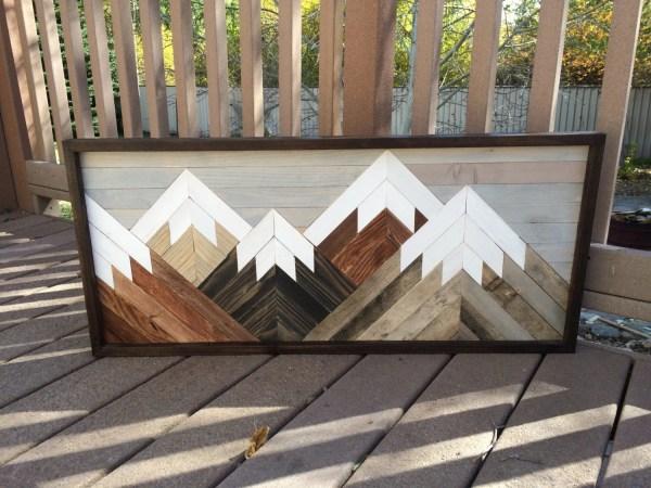 Reclaimed Wood Wall Art Mountain Scene Mantel Cabin