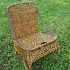 Folding Chair Racks Diy Wheelchair Walgreens Vintage Wicker Camping Or Canoe With Storage