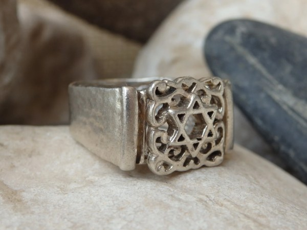Jewish Star Signet Ring. Sterling Silver Of David