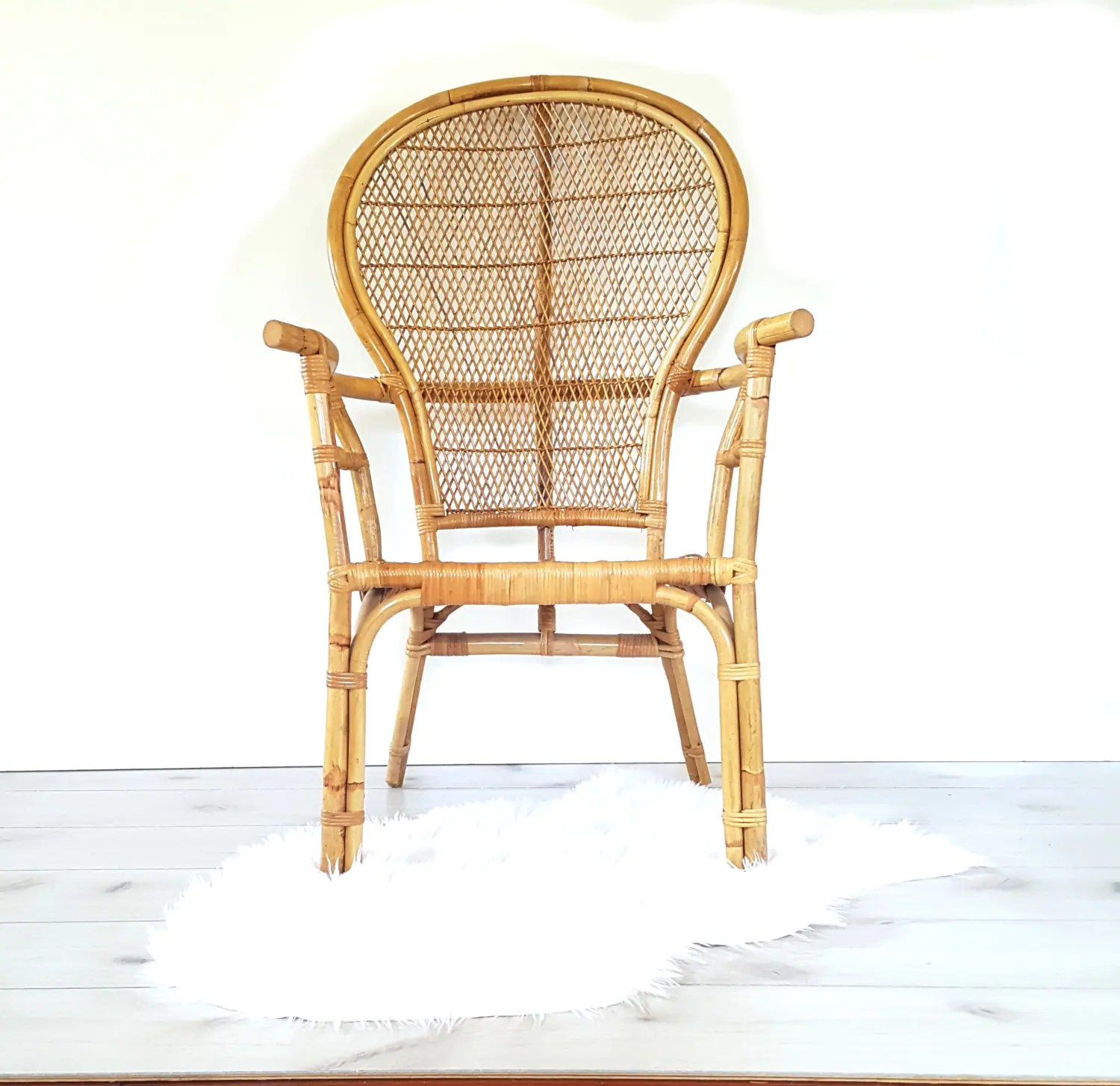 Vintage Rattan Chairs Bamboo Arm Chair Vintage Bentwood Bamboo Rattan High Back