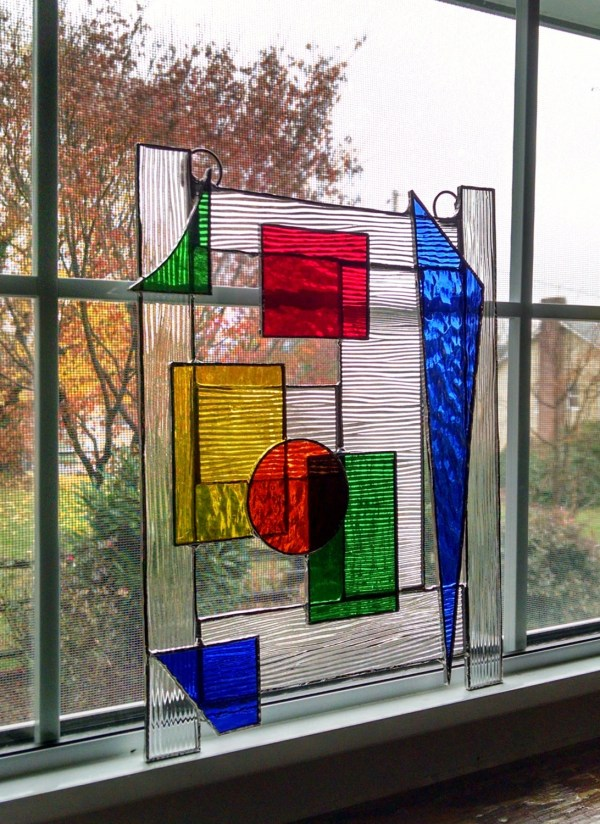 Abstract Geometric Stained Glass Panel Window