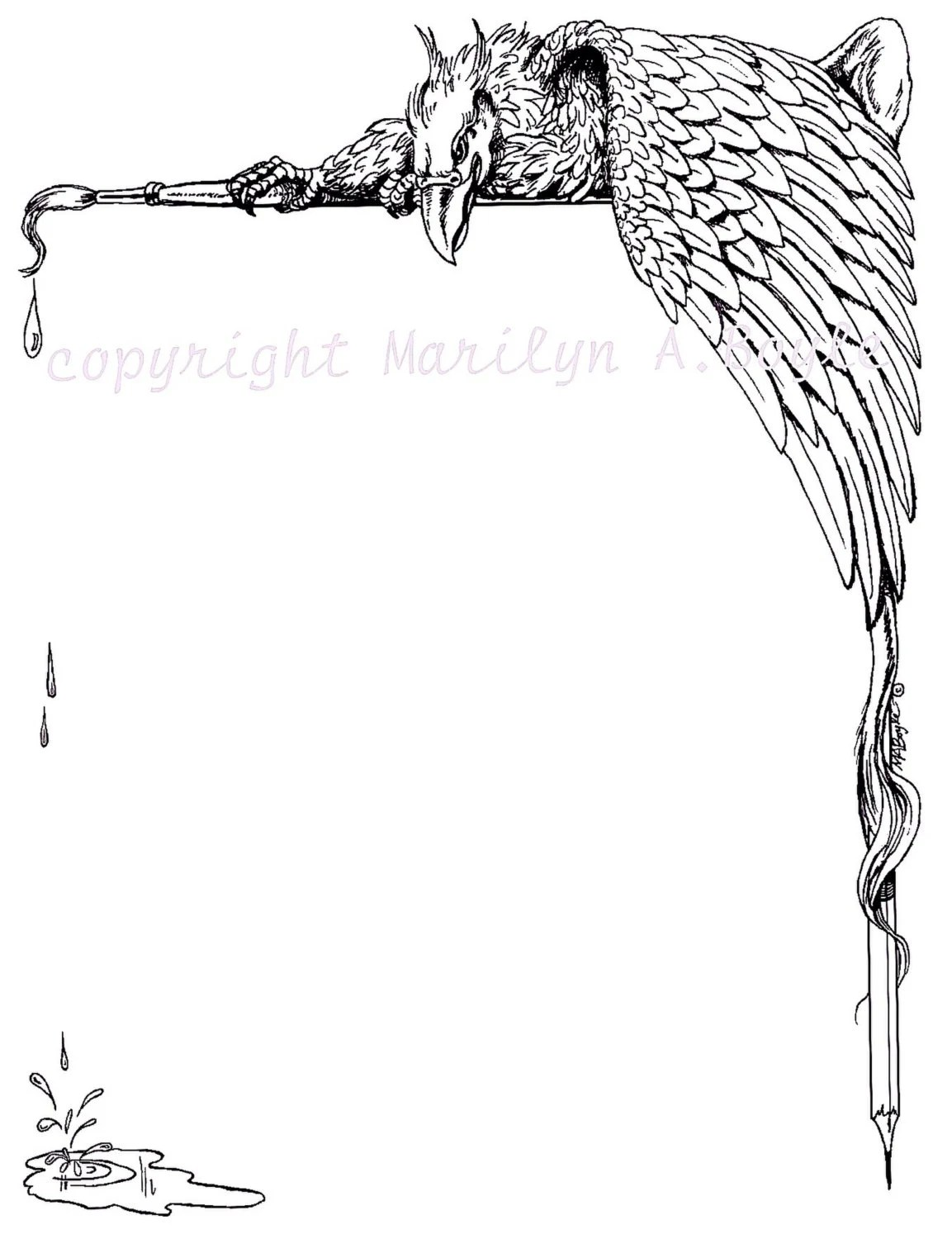 Digital Border Gryphon Fantasy Pen And Ink From An