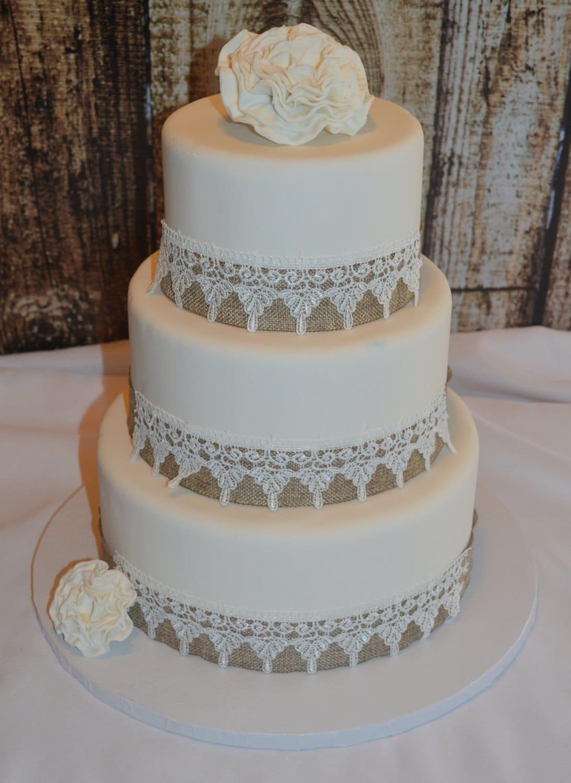 Three Tier Fondant Wedding Cake Fake Wedding Cake Faux