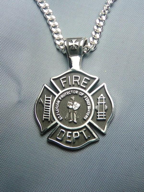 Saint Florian Sterling Silver Maltese Cross Pendant Necklace
