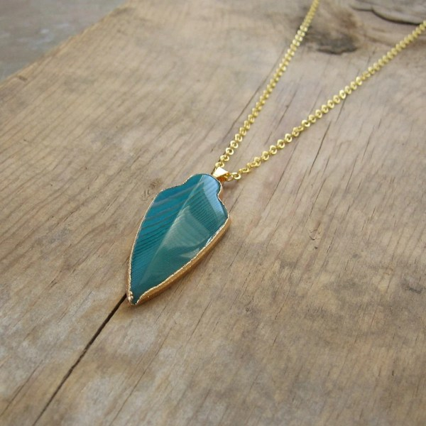 Arrowhead Necklace Turquoise Agate Edged In Gold Boho Glam