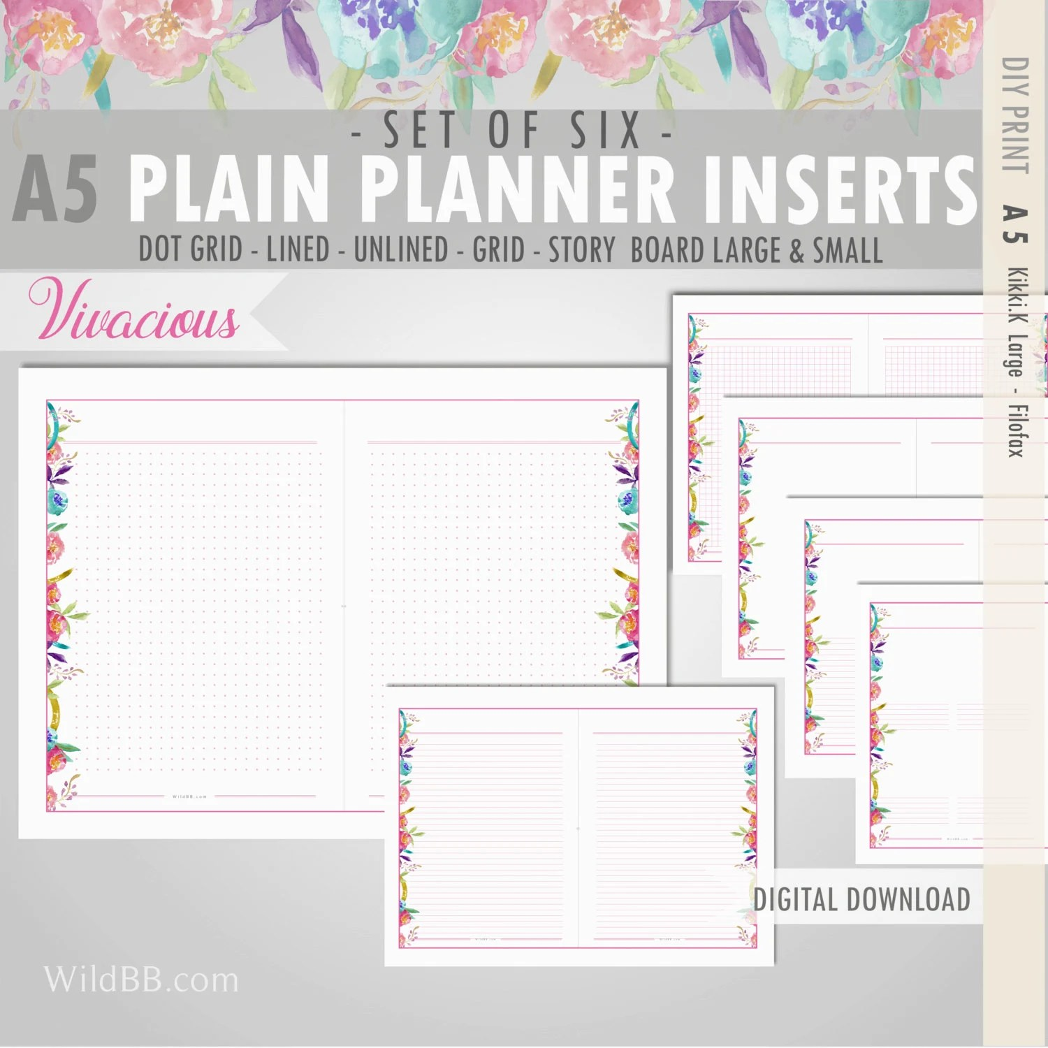 A5 Printable Planner Inserts Plain Lined Dot Grid