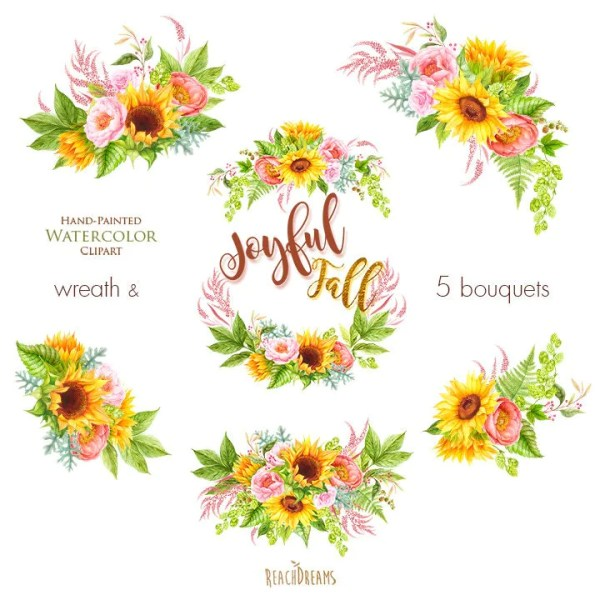 watercolor sunflower peonies