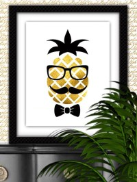 Hipster Pineapple art Hipster Pineapple print by ...