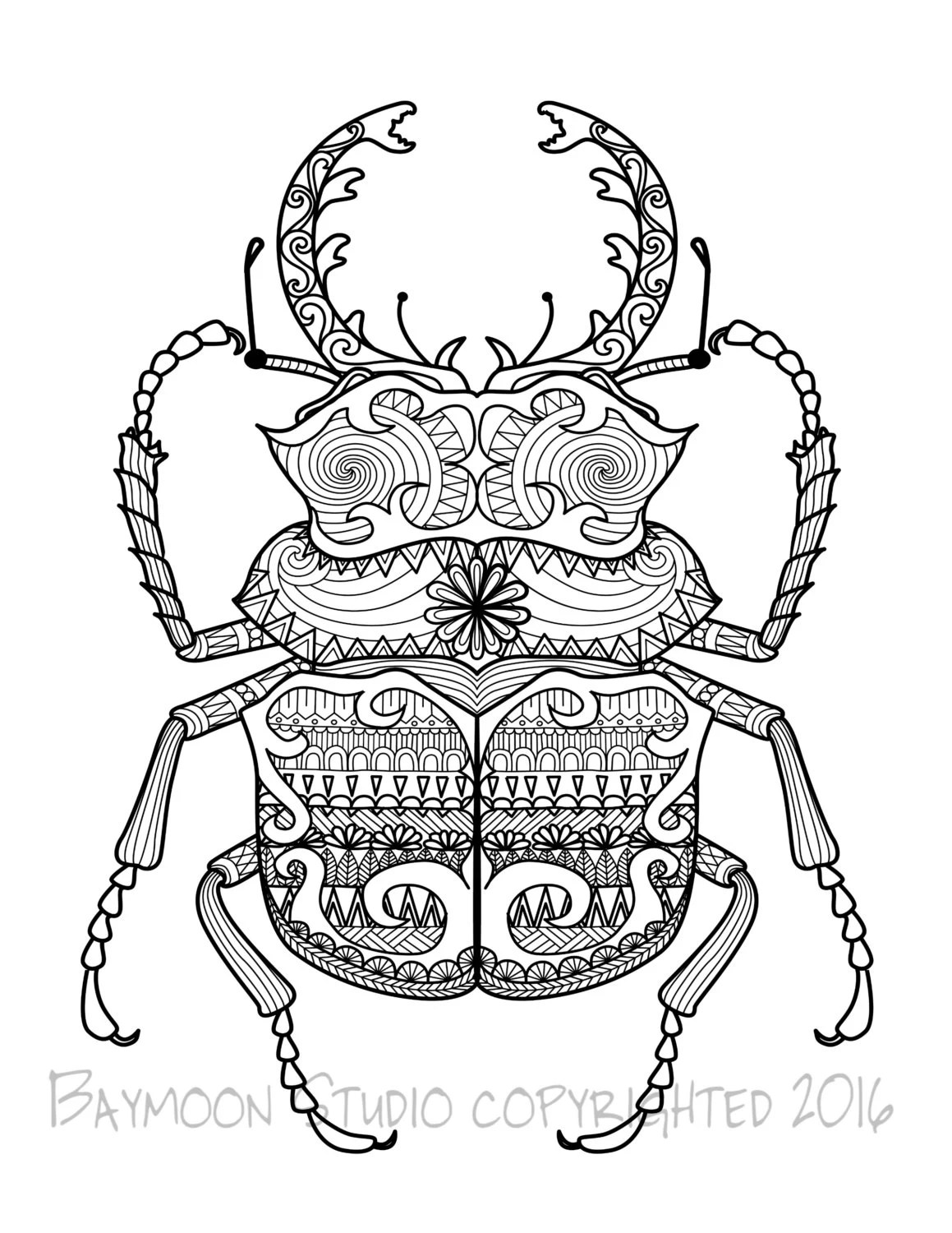 Scarab Beetle Coloring Page Printable Coloring by
