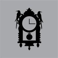 Tic-Toc Halloween Raven Wall Clock Vinyl Wall Decal Graphic