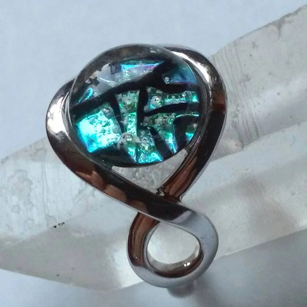 Infinity 14K White Gold Cremation Jewelry Ashes InFused Glass